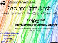 Soup and Spirit Lunch: Seeking Spirituality in the EC LGBTQA Community