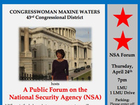 "Public Forum: ""National Security Agency: Pros & Cons"" with Congresswoman Maxine Waters (CA-43)"