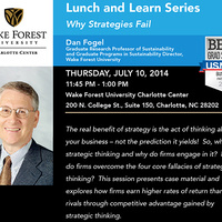 Lunch & Learn Series:  Dan Fogel, Graduate Research Professor of Sustainability and Graduate Programs in Sustainability Director, Wake Forest University