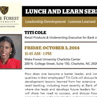 Lunch & Learn:  Titi Cole, Retail Products & Underwriting Executive for Bank of America