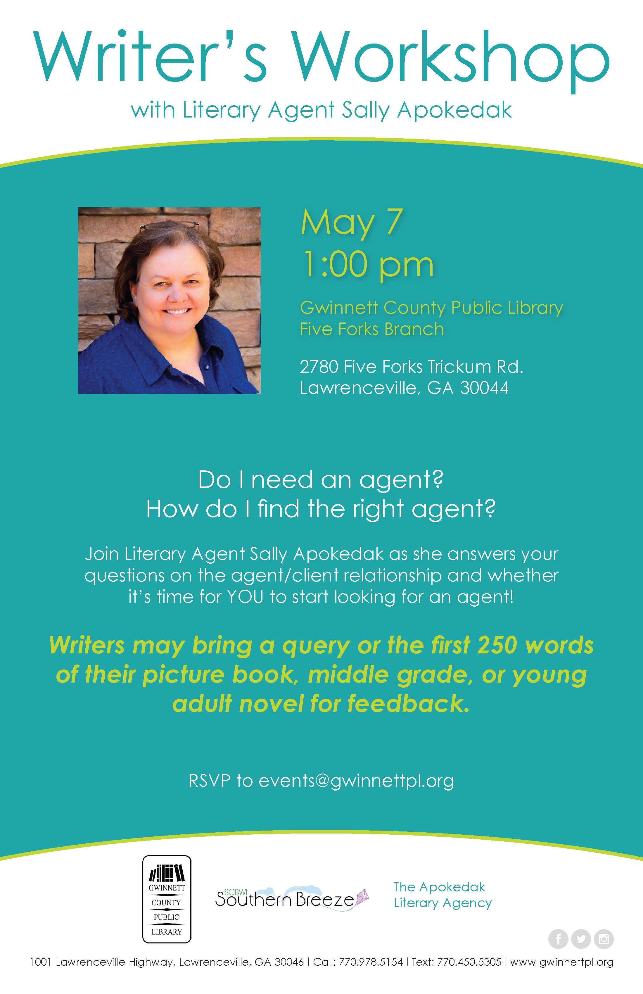 Sally Apokedak, Literary Agent – May 7, 1PM – presented by Gwinnett