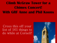 Climb McGraw Tower for a Chimes Concert! With GRF Anne and Phil Koons