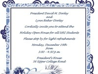 President's Holiday Open House for Students, 12/19