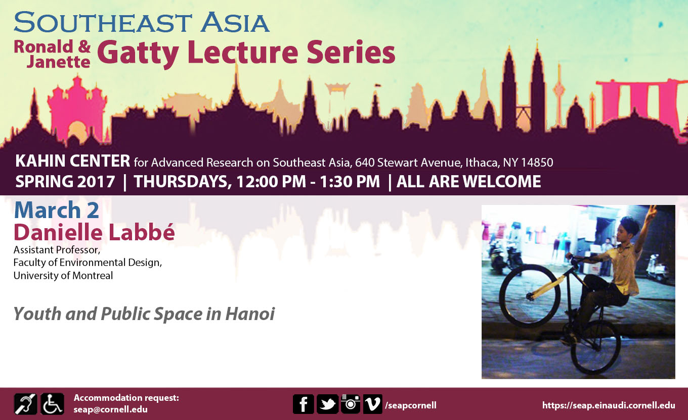 """SEAP Gatty Lecture Series: """"Youth and Public Space in Hanoi"""""""
