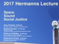 "Hermanns Lecture Series: ""Space, Sound, Social Justice"""