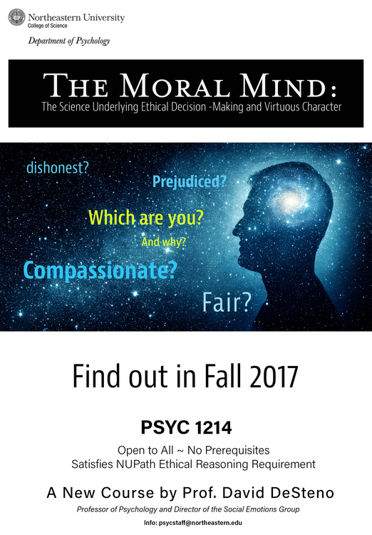 Getting ready to register for Fall 2017 courses? Try Moral Mind: The Science Underlying Ethical Decision-Making and Virtuous Character.