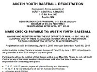 Austin Youth Baseball Registration