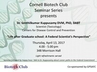 """Life after PhD: A Federal Scientist's Perspective""  Dr. Senthilkumar PK, Scientist, CDC"