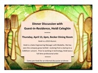 Dinner Discussion with Guest-in-Residence, Heidi Celeghin