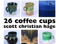 """26 coffee cups (and other tales), scott christian hage graphic design bfa exhibition"