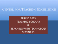 Teaching Scholar Seminar, Students Learning from Students: Developing Study Groups