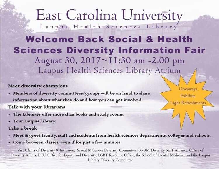 Welcome Back Social and Health Sciences Diversity Information Fair