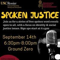 Join us for Spoken Justice on Thursday, 9/14 at Ground Zero