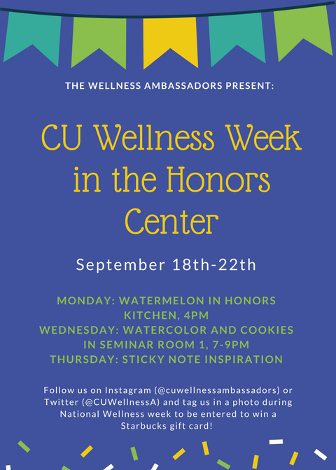 CU Wellness Week in the Honors Center @ Core Campus