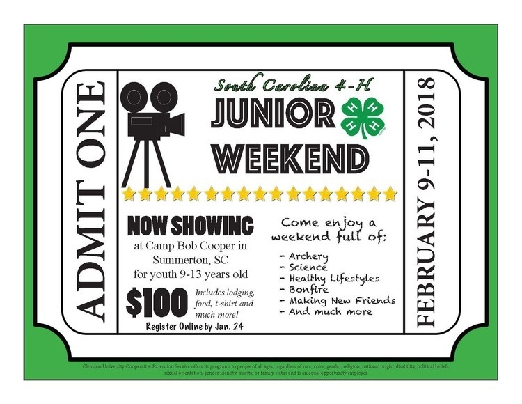 SC 4-H Junior Weekend Registration