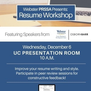 webster prssa presents resume workshop webster university