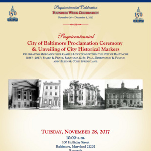 Sesquicentennial City of Baltimore Proclamation Ceremony & Unveiling of City Historical Markers