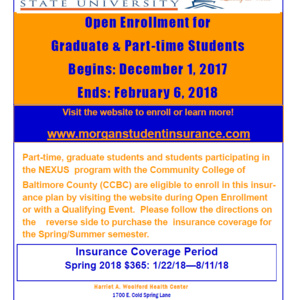 Open Insurance Enrollment for Graduate & Part-time Students