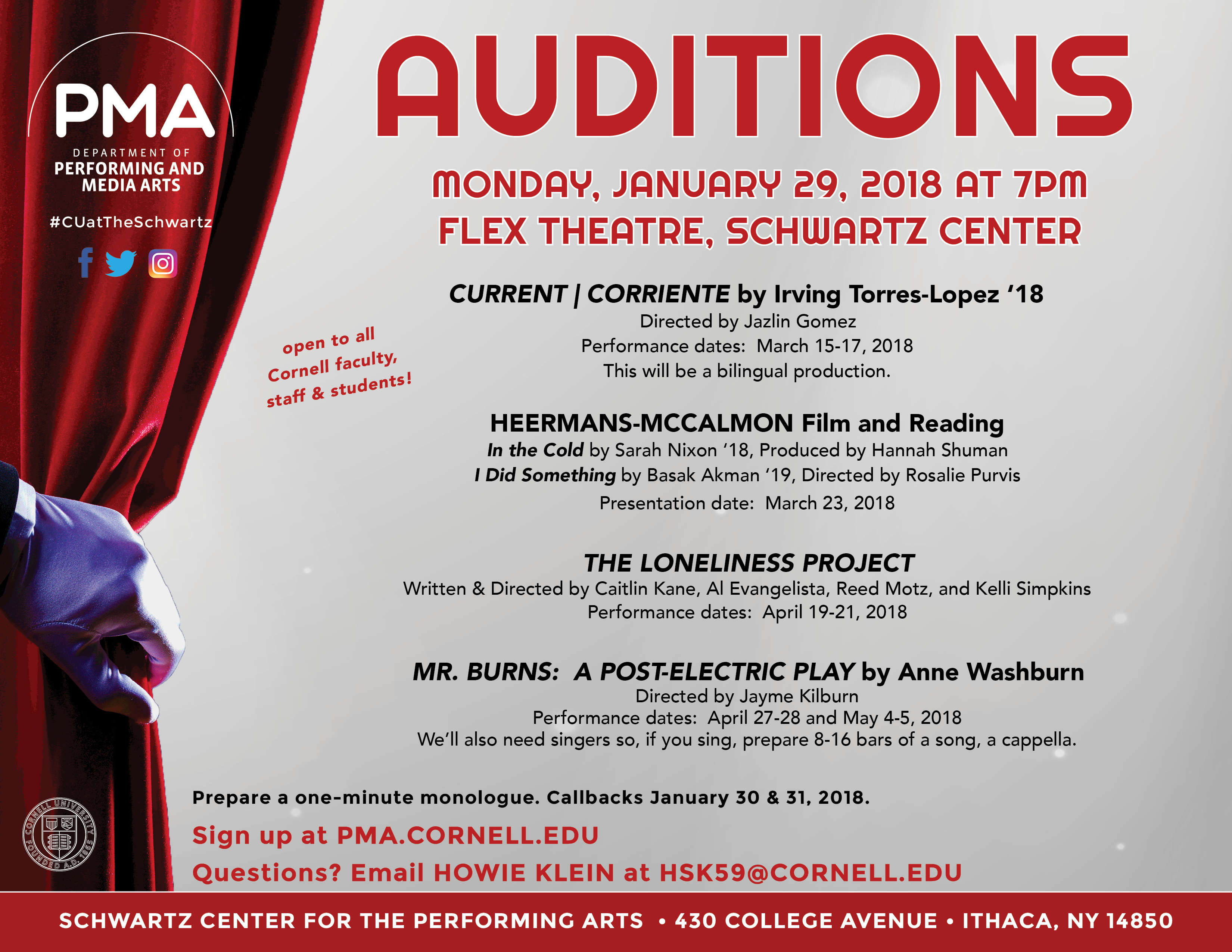 Auditions for Cornell Performing and Media Arts spring productions