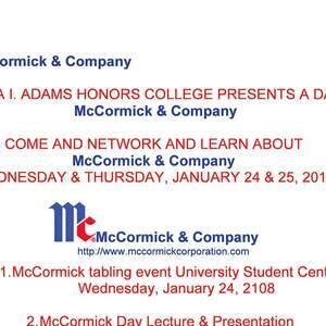 Clara I. Adams Honors College Presents: A Day With McCormick & Company