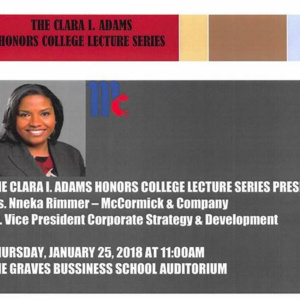 The Clara I. Adams Honors College Lecture Series feat. Nneka Rimmer