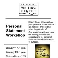 Personal Statement Workshop hosted by the University Writing Center