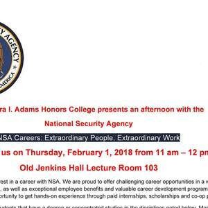 The Clara I. Adams Honors College Presents: An Afternoon With theNSA
