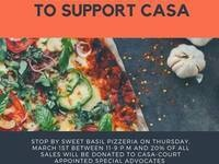 A Delicious Way To Support CASA @ Sweet Basil Pizzeria