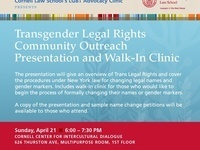 Transgender Legal Rights Community Outreach Presentation and Walk-In Clinic