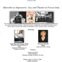 Forthcoming Talk on Mussolini as Impresario: Jazz and Theater in Fascist Italy
