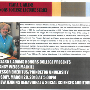 Clara I. Adams Honors College Lecture Series feat. Dr. Nancy Weiss Malkiel