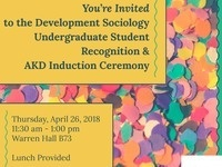 Development Sociology Undergraduate Student Recognition & AKD Induction Ceremony
