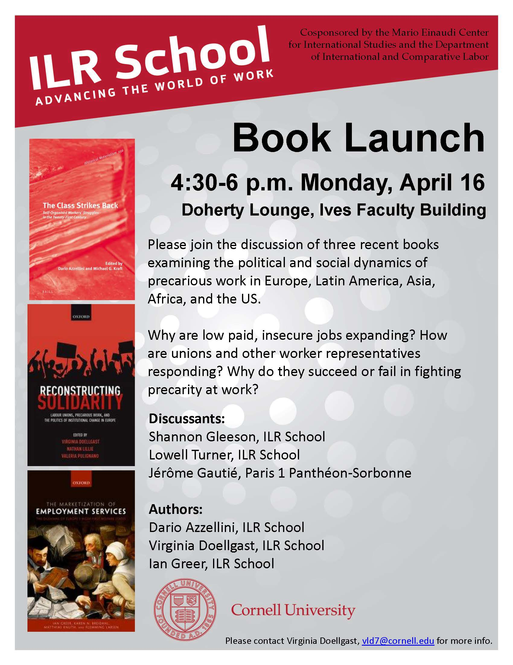 ILR Book Launch on Precarious Work
