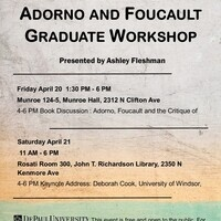 Graduate Student Workshop: Critical Theories Workshop- Foucault & Adorno