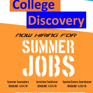College Discovery Academy 2018 Student Summer Jobs ( On Campus)