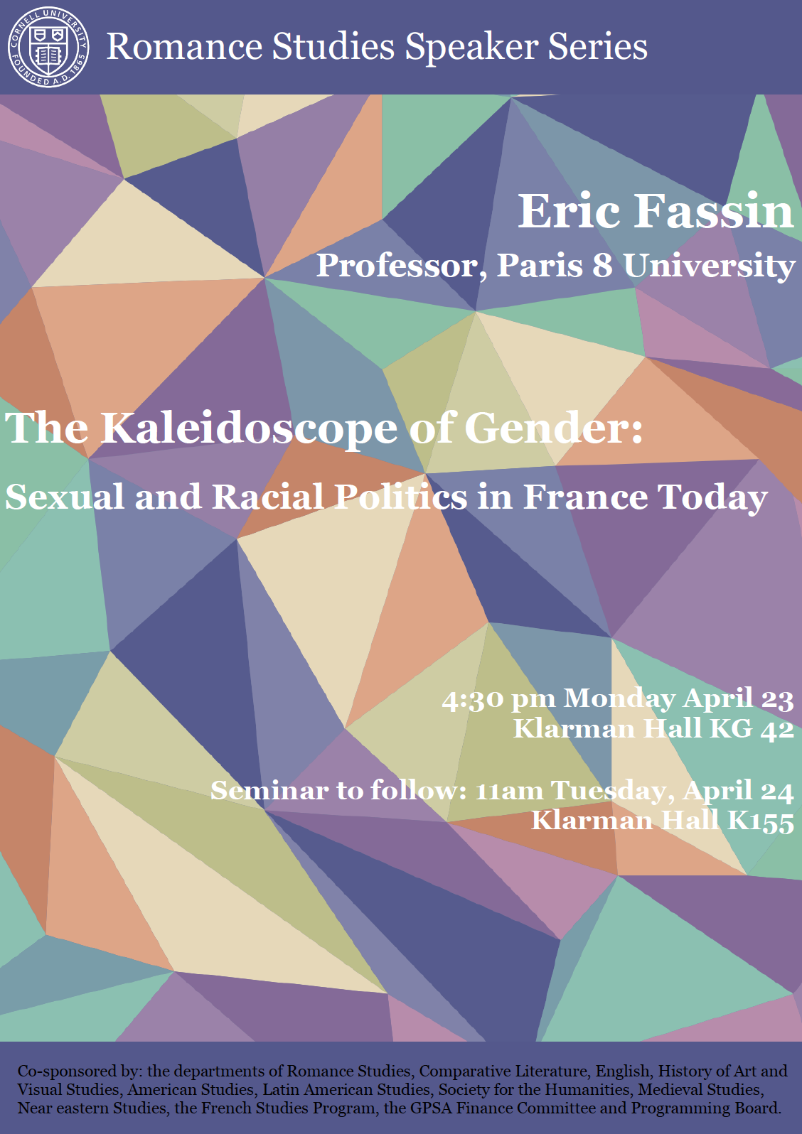 """Eric Fassin: """"The Kaleidoscope of Gender: Sexual and Racial Politics in France Today"""""""