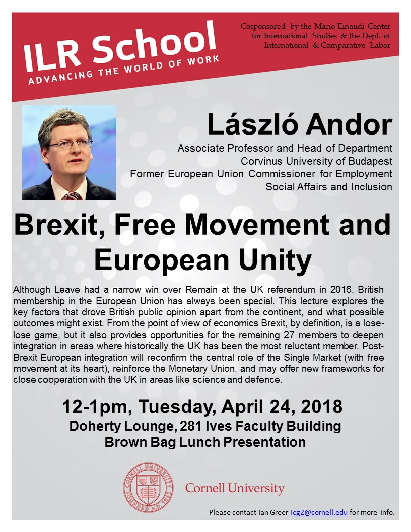 ILR Brown Bag Lunch Presentation: László Andor: Brexit, Free Movement and European Unity