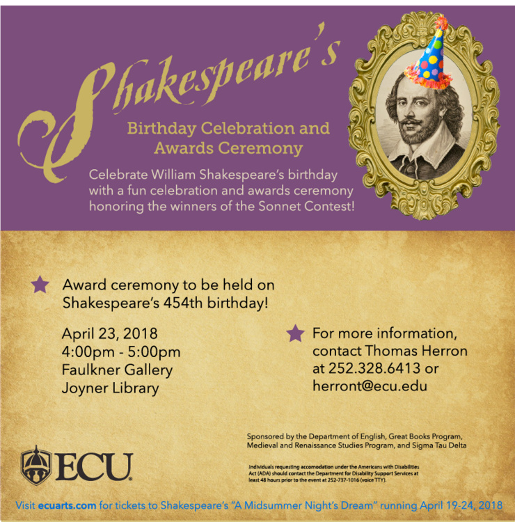 Shakespeare's Birthday Celebration and Awards Ceremony