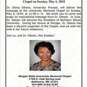 Dr. Gloria Gibson to Speak at University Memorial Chapel