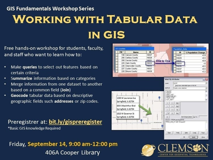 Working with Tabular Data in GIS Workshop