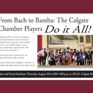 Fall 2018 Colgate Chamber Players Meet and Greet/Auditions