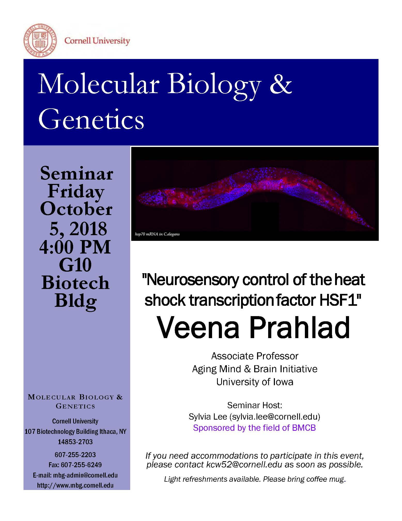 "MBG Friday Seminar with Veena Prahlad ""Neurosensory control of the heat shock transcription factor HSF1"""