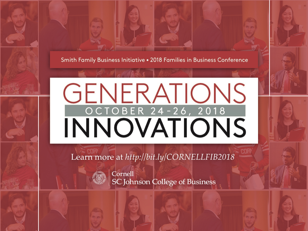2018 Families in Business Conference: Generations, Innovations