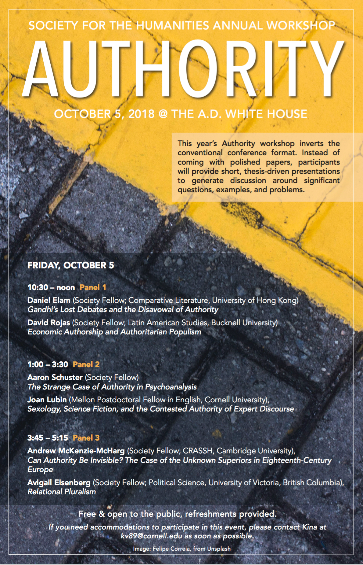 Society for the Humanities Annual Workshop: AUTHORITY