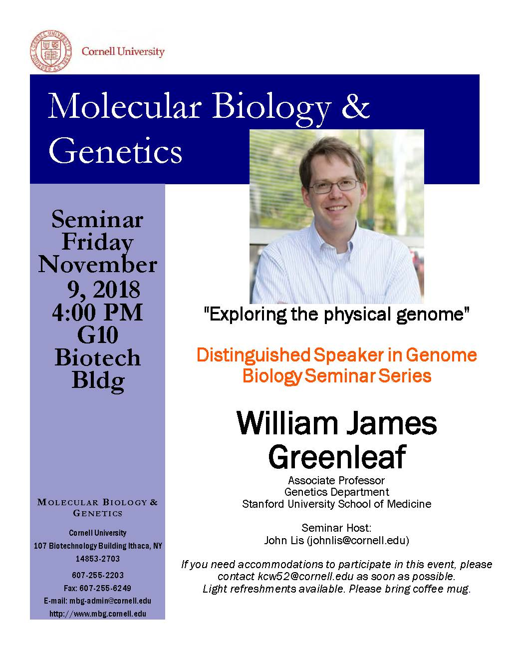 """MBG Friday Seminar with William James Greenleaf """"Exploring the physical genome"""""""