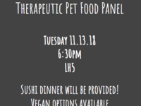"""The Nutritional Opportunities in Veterinary Medicine Club presents a """"Therapeutic Pet Food Panel Discussion"""""""