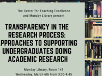 Transparency in the research process: Approaches to supporting undergraduates doing academic research