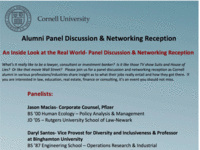 Alumni Panel Discussion & Networking Reception