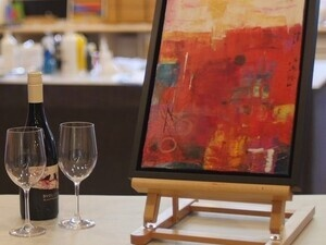 Sips and Brushstrokes Abstract Painting Class