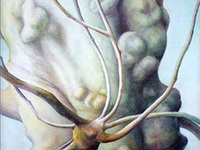 """Les Arbres,"" watercolors by Camille Doucet, on display at the Nevin Welcome Center"